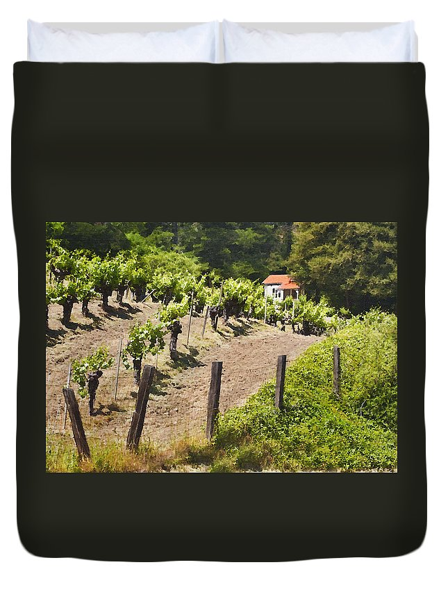 Vineyard Duvet Cover featuring the photograph Little White House by Sharon Foster