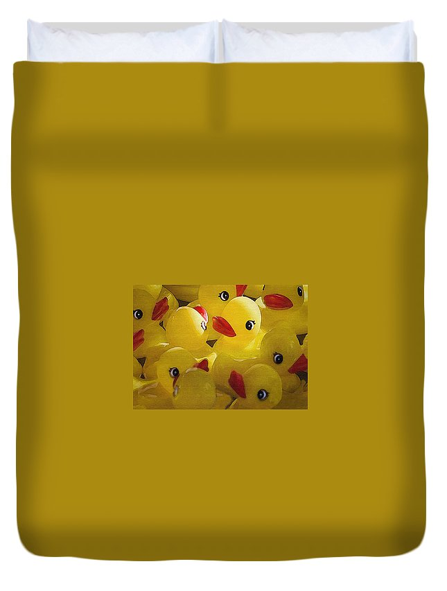 Bird Duvet Cover featuring the photograph Little Yellow Duckies by Sharon Foster