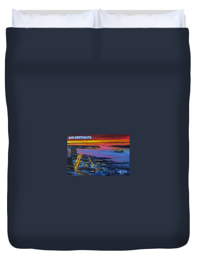 Night Scenes Duvet Cover featuring the painting Live Eye Over Dartmouth Ns by John Malone