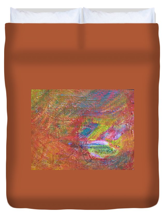 Abstract Duvet Cover featuring the painting Live Fish In The Ocean by Judith Redman