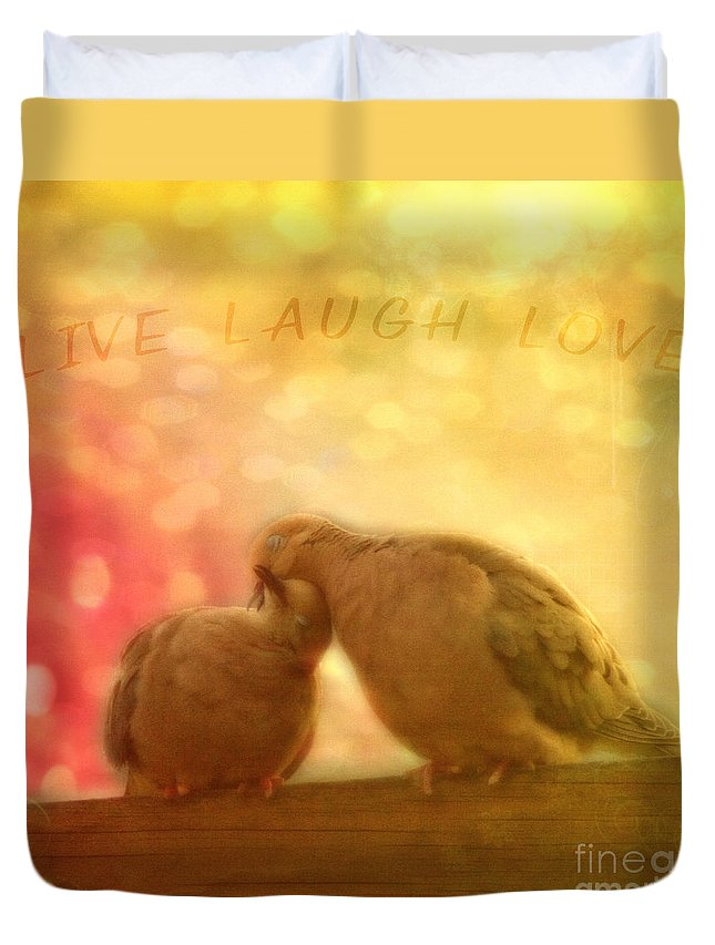 Live Duvet Cover featuring the photograph Live Laugh Love by Joel Witmeyer