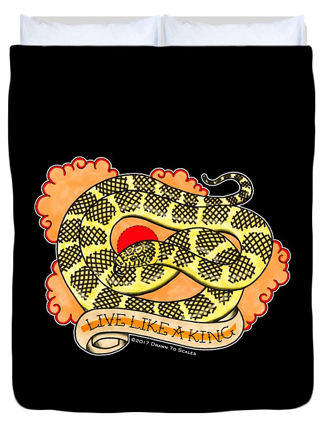Snake Duvet Cover featuring the drawing Live Like A Florida Kingsnake by Donovan Winterberg