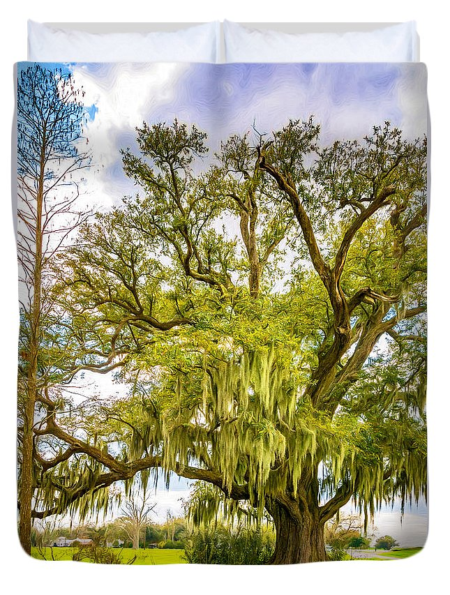 Evergreen Plantation Duvet Cover featuring the photograph Live Oak And Spanish Moss 2 - Paint by Steve Harrington