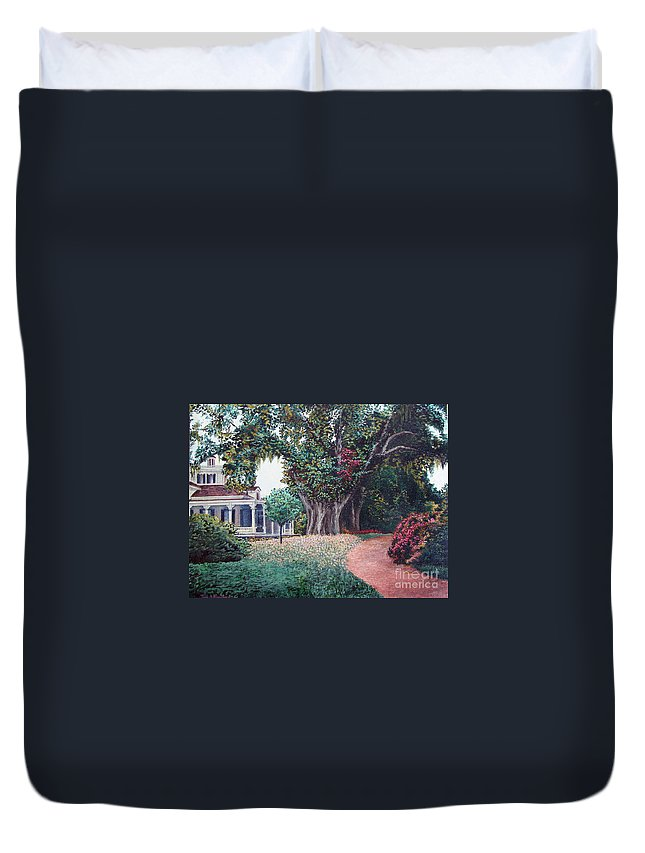 Landscape Duvet Cover featuring the painting Live Oak Gardens Jefferson Island La by Todd Blanchard