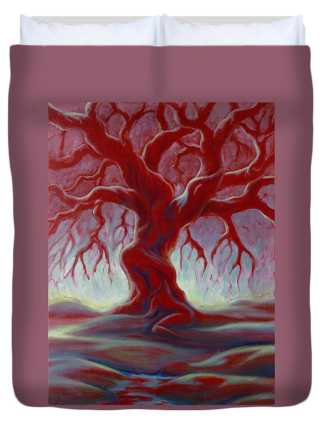 Red Oak Duvet Cover featuring the painting Live Oak by Jennifer McDuffie