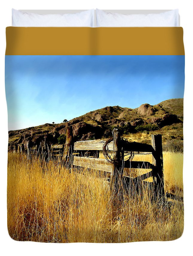 Southwestern Duvet Cover featuring the photograph Livery Fence At Dripping Springs by Kurt Van Wagner