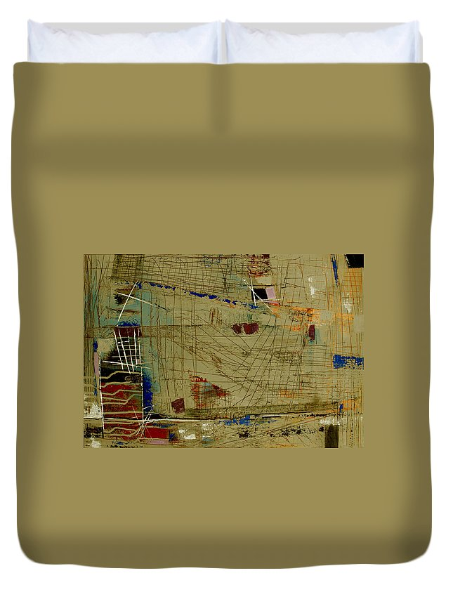 Abstract Duvet Cover featuring the painting Living Dangerously by Ruth Palmer