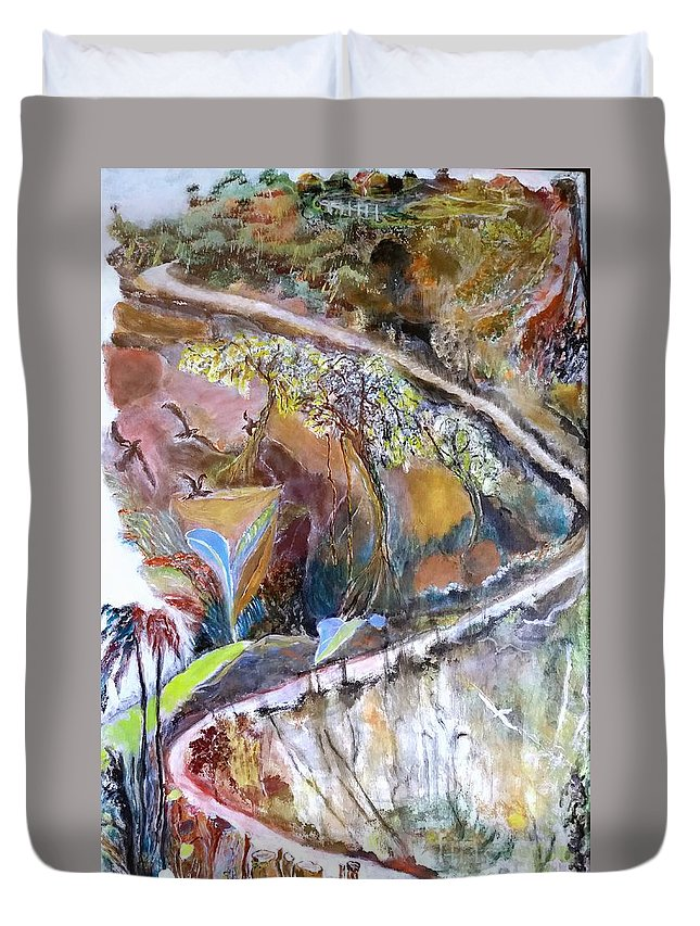 Hills Duvet Cover featuring the painting Living Nearer To God by Subrata Bose