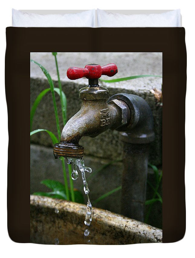 Water Faucet Valve Nature Garden Drop Dripping Red Wet Life Grow Nourish Rural Country Duvet Cover featuring the photograph Living Water by Andrei Shliakhau