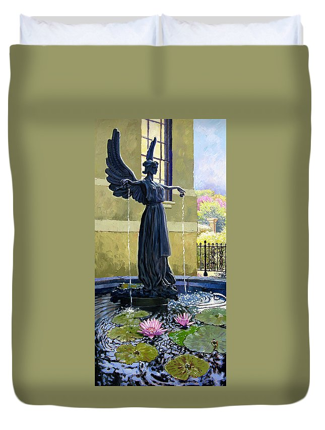 Garden Fountain Duvet Cover featuring the painting Living Waters by John Lautermilch