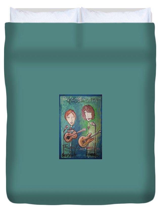 Liz Clark Duvet Cover featuring the painting Liz Clark by Laurie Maves ART