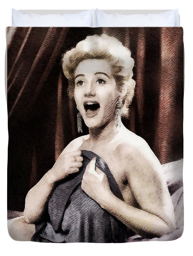 Hollywood Duvet Cover featuring the painting Liz Fraser, Vintage British Actress by John Springfield