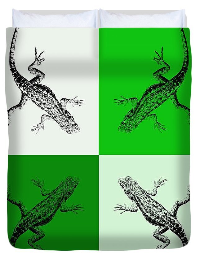 Lizard Duvet Cover featuring the photograph Lizards in Green Tones by Colleen Cornelius