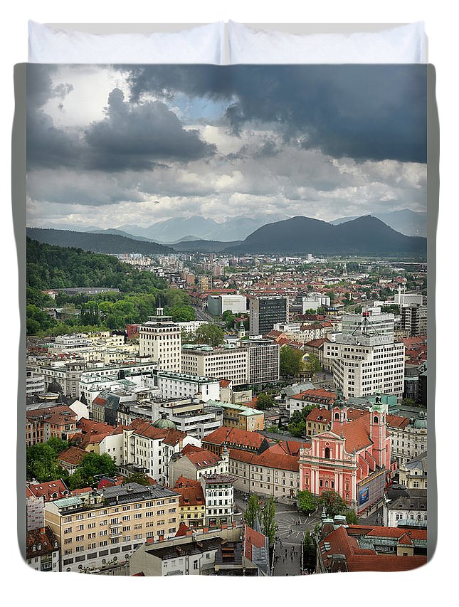 Aerial Duvet Cover featuring the photograph Ljubljana Slovenia With Karawanks, Kamnik Savinja, Limestone Alp by Reimar Gaertner