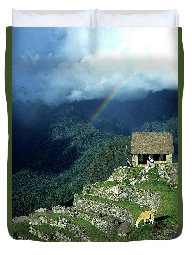 Machu Picchu Duvet Cover featuring the photograph Llama And Rainbow At Machu Picchu by James Brunker