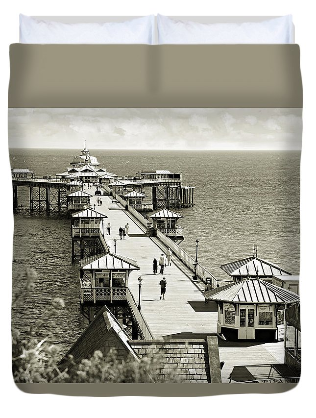 Pier Duvet Cover featuring the photograph Llandudno Pier North Wales Uk by Mal Bray