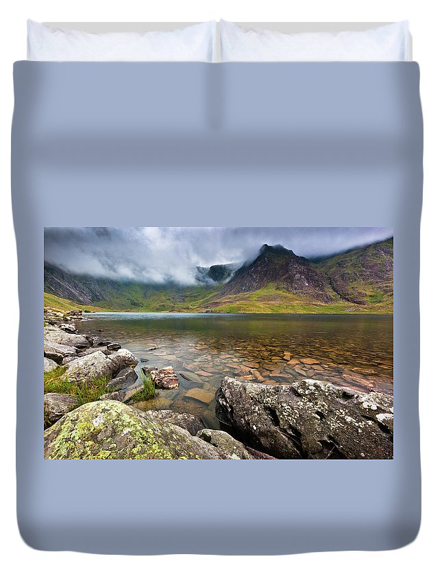 Duvet Cover featuring the photograph Llyn Idwal #1, Cwm Idwal, Snowdonia, North Wales by Anthony Lawlor
