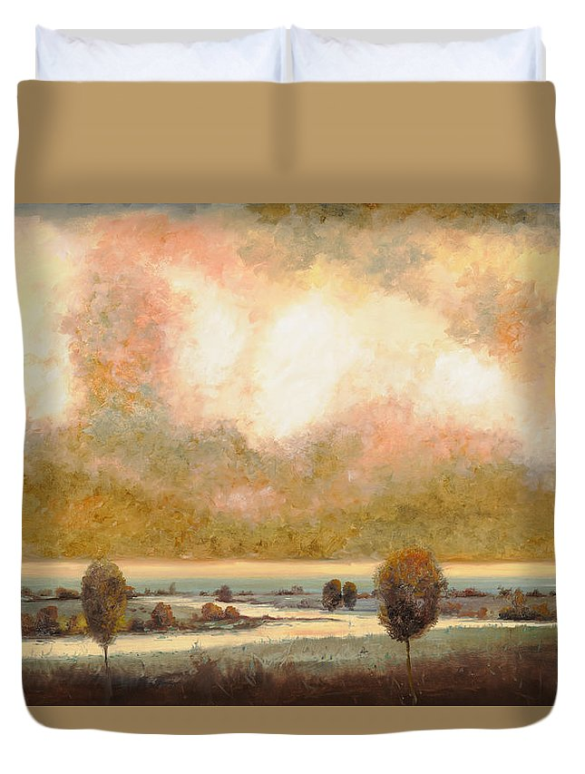Pond Duvet Cover featuring the painting Lo Stagno Sotto Al Cielo by Guido Borelli