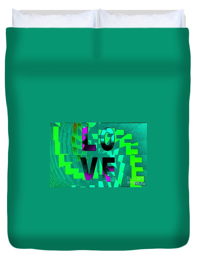 Love Duvet Cover featuring the digital art Lo Ve by Donna Bentley