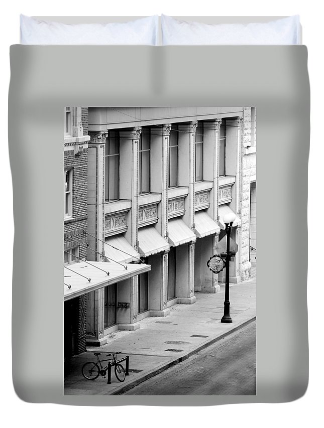 Architecture Duvet Cover featuring the photograph Loan Bike by Jill Reger