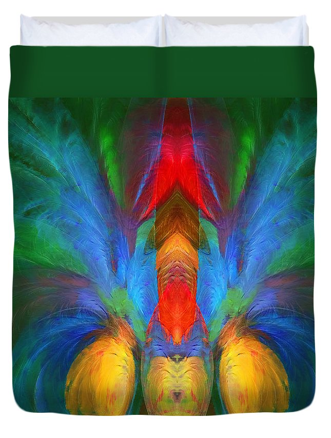 Abstract Duvet Cover featuring the digital art Lobster A La Abstract by Georgiana Romanovna