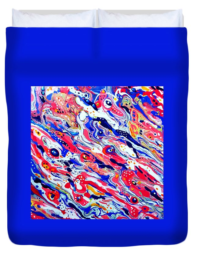 Sea Shellfish Lobster Abstract Red Blue Beach Ocean Duvet Cover featuring the painting Lobster Boil by Gail Butler