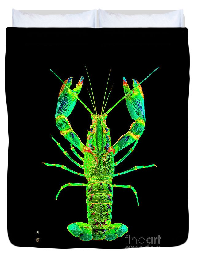 Poster Digital Art Greeting Cards Postcard Paintings Drawings Design Collage Assemblage Vivid Colors Bright Crawfish Langusta Langosta American Lobster Sea Aquarium Aqua Tropical Seafood Duvet Cover featuring the mixed media Lobster Crawfish In The Dark - Greenlime by Baptiste Posters