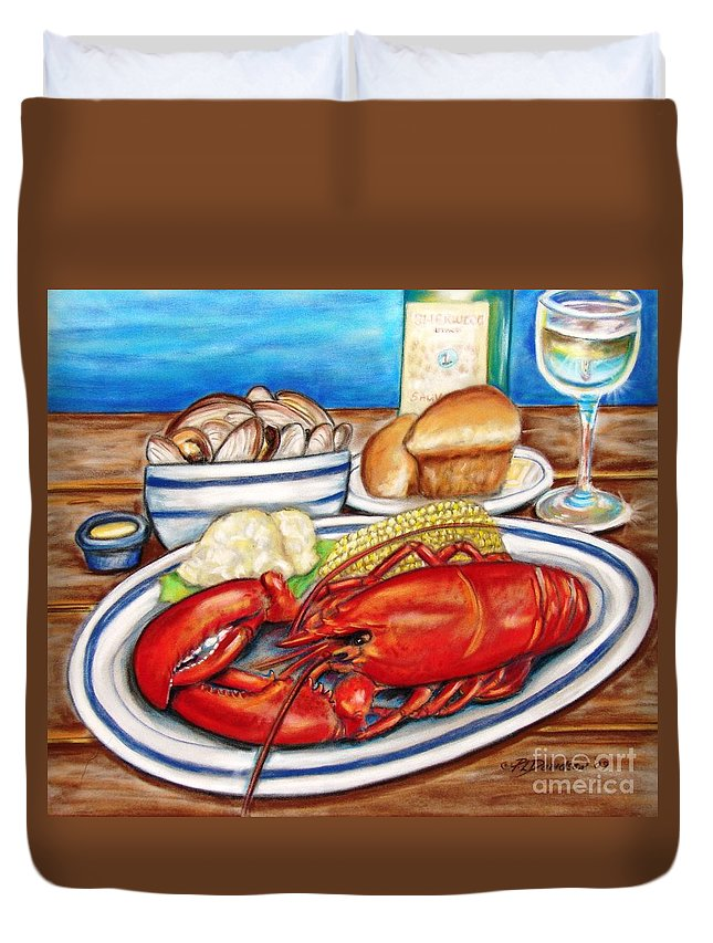 Kitchen Duvet Cover featuring the pastel Lobster Dinner by Patricia L Davidson