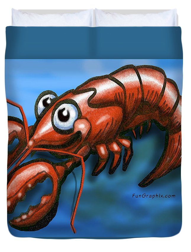 Lobster Duvet Cover featuring the greeting card Lobster by Kevin Middleton