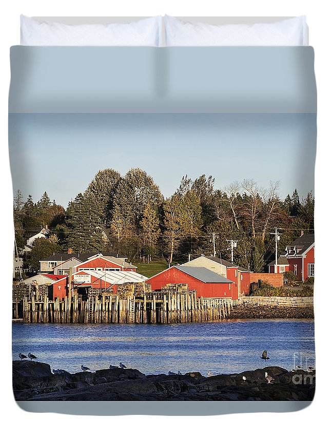 Bass Harbor Duvet Cover featuring the photograph Lobster Market by John Greim