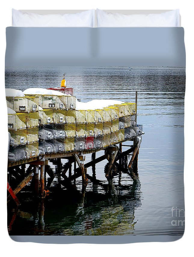Maine Duvet Cover featuring the photograph Lobster Traps In Winter by Olivier Le Queinec