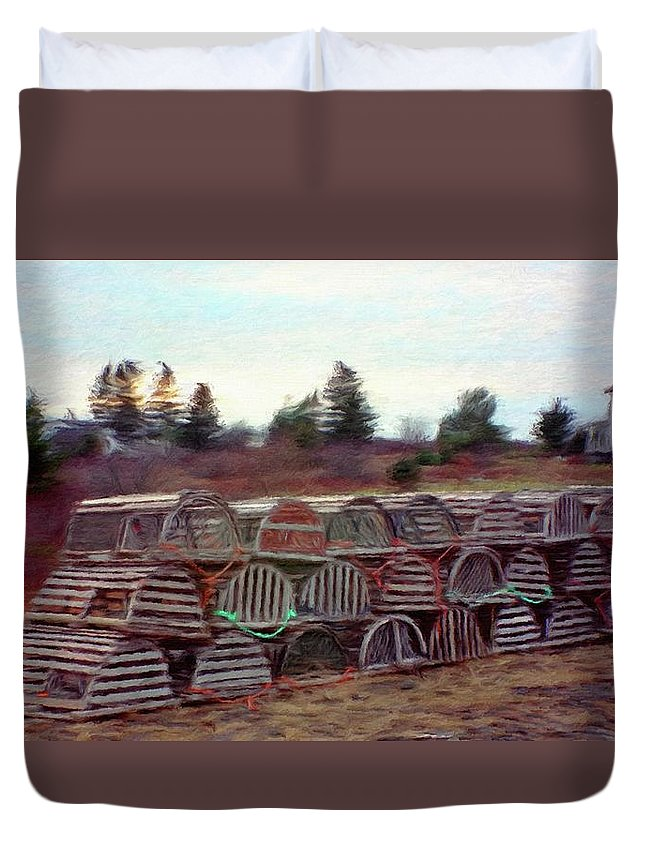 Nova Scotia Duvet Cover featuring the painting Lobster Traps by Jeffrey Kolker