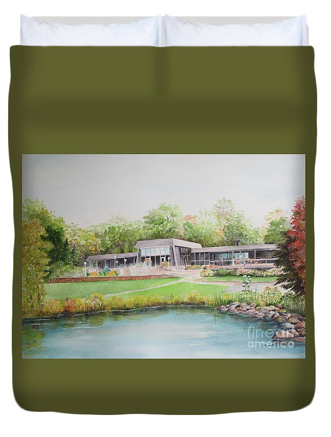Loch Lomond Duvet Cover featuring the painting Loch Lomond Beach Clubhouse by Patricia Ricci