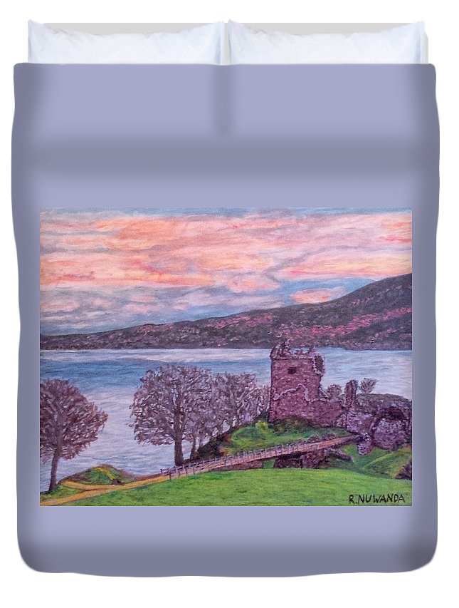 Landscape Duvet Cover featuring the painting Loch Ness, Urquhart Castle by Robbie Potter