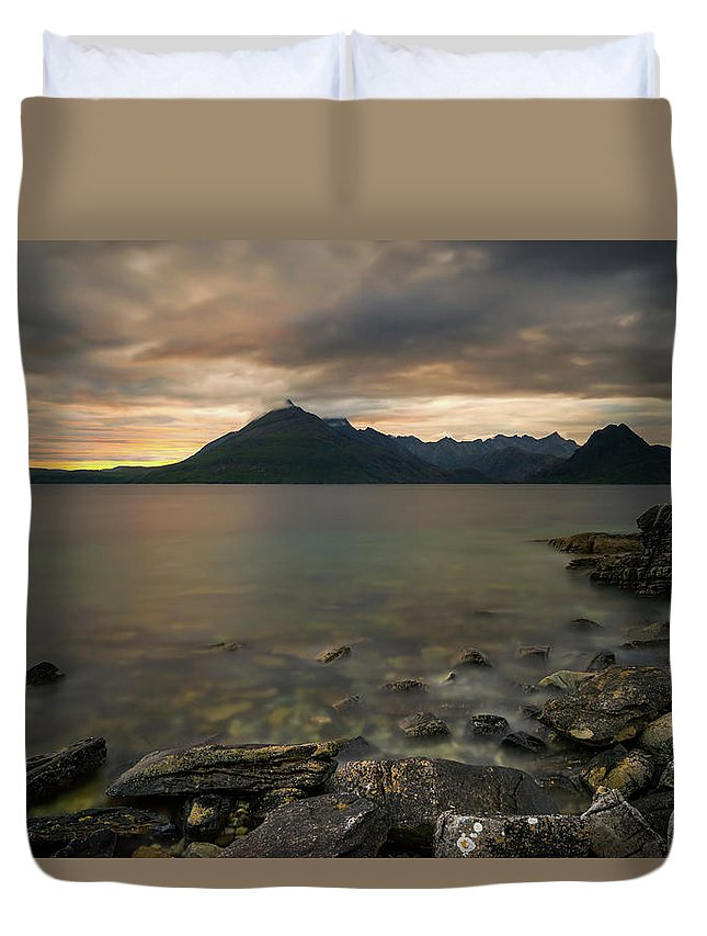 Scotland Duvet Cover featuring the photograph Loch Scavaig Stones by Swen Stroop
