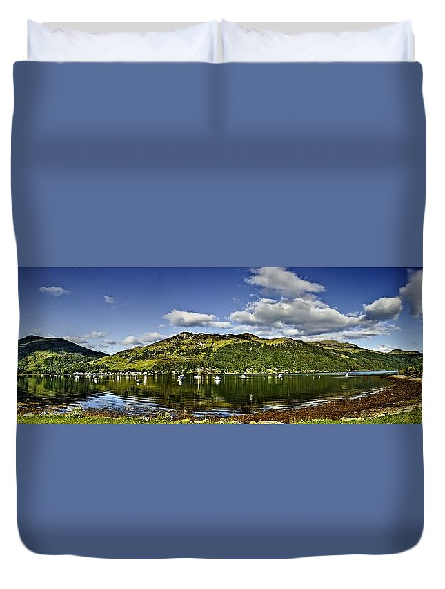Loch Duvet Cover featuring the photograph Lochgoilhead Panorama by Chris Whittle