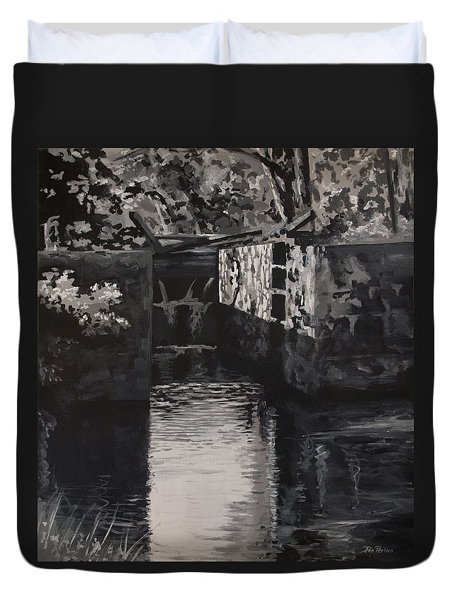 Realism Duvet Cover featuring the painting Lock 17 by Don Perino