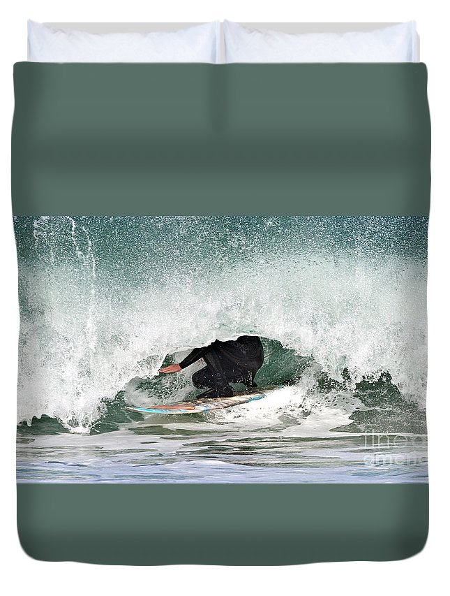 Surfer Duvet Cover featuring the photograph Locked In Curl by Daryl L Hunter
