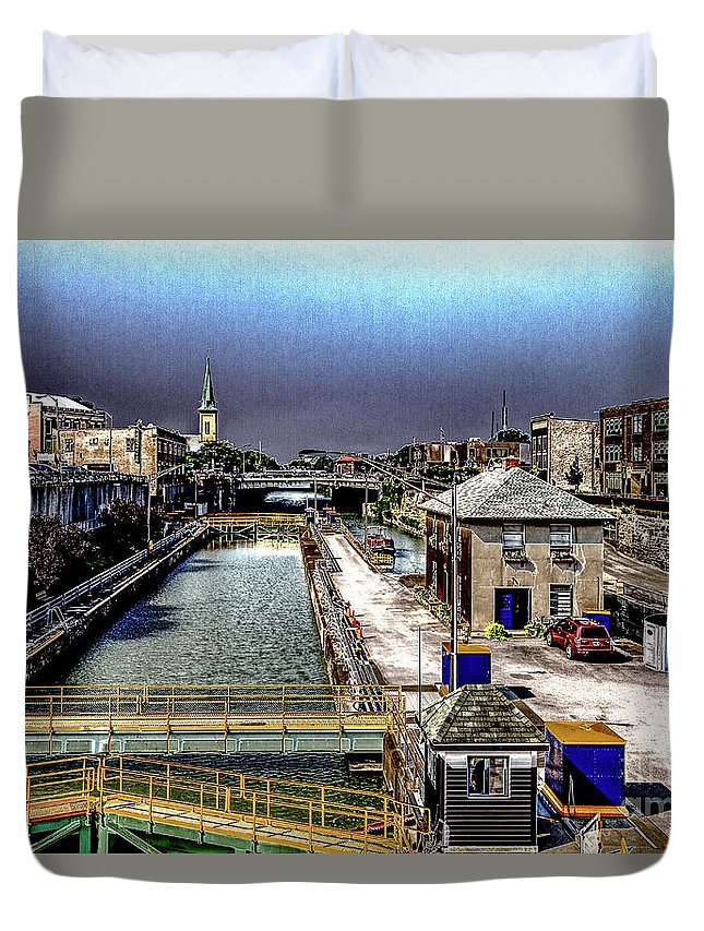 Lockport Duvet Cover featuring the photograph Lockport Canal Locks by William Norton