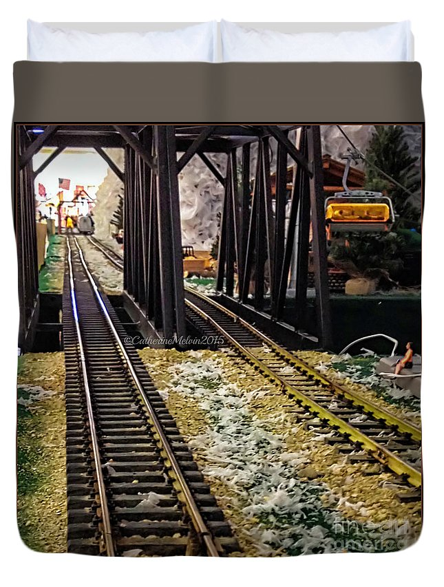 Model Trains Duvet Cover featuring the photograph Locomotive Tracks by Catherine Melvin