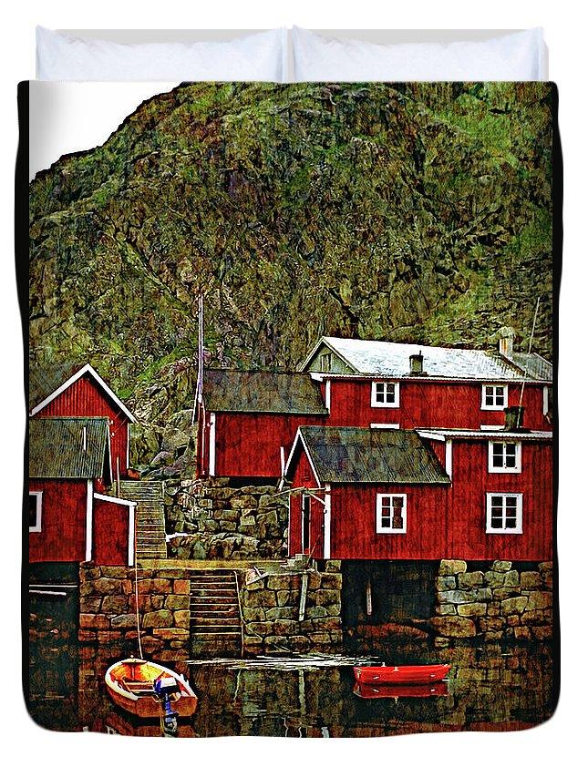 Lofoten Duvet Cover featuring the photograph Lofoten Fishing Huts Overlay Version by Steve Harrington