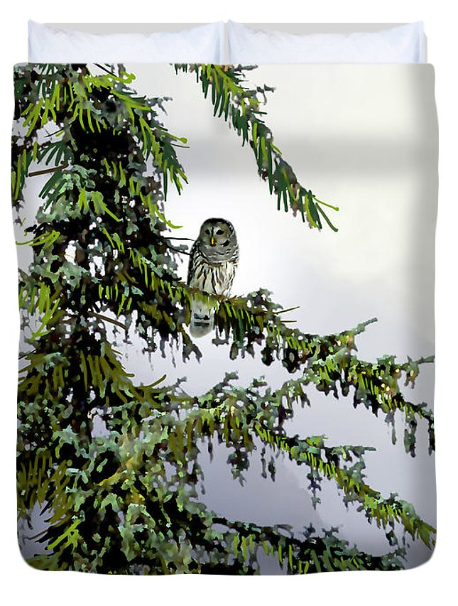 Nature Duvet Cover featuring the painting Lofty Perch by Paul Sachtleben