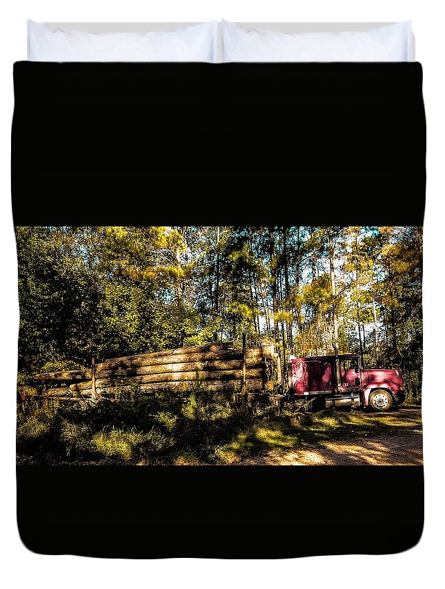 Woods Duvet Cover featuring the photograph Log Truck by Leon Hollins III