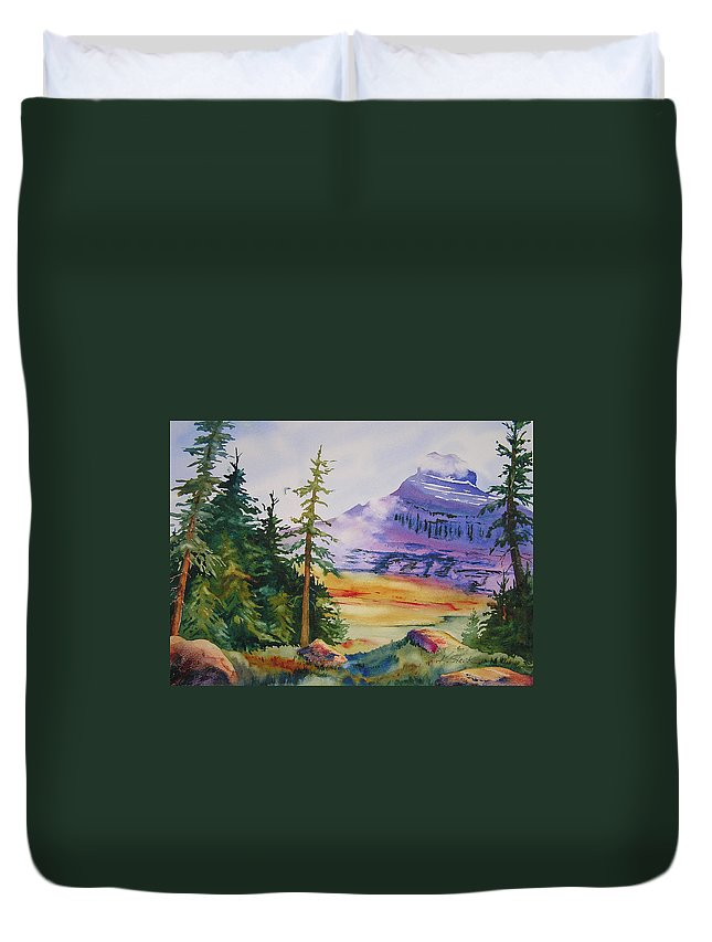 Landscape Duvet Cover featuring the painting Logan Pass by Karen Stark