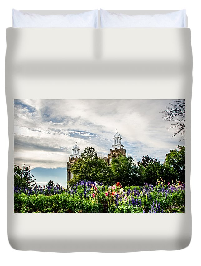 Logan Temple Photography Duvet Cover featuring the photograph Logan Temple Flowers by La Rae Roberts