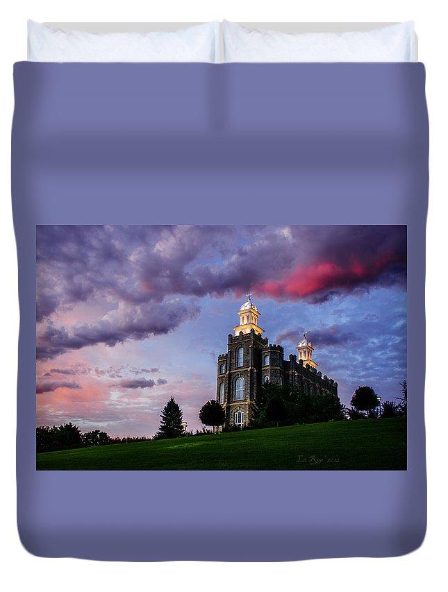 Logan Temple Duvet Cover featuring the photograph Logan Temple Heaven's Light by La Rae Roberts