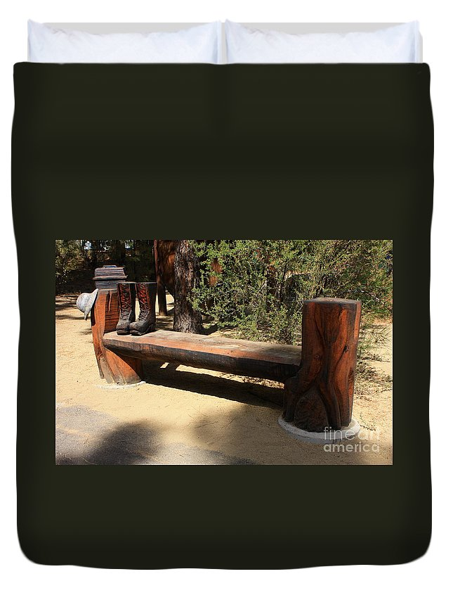 Oregon Duvet Cover featuring the photograph Logger Bench In Oregon by Carol Groenen