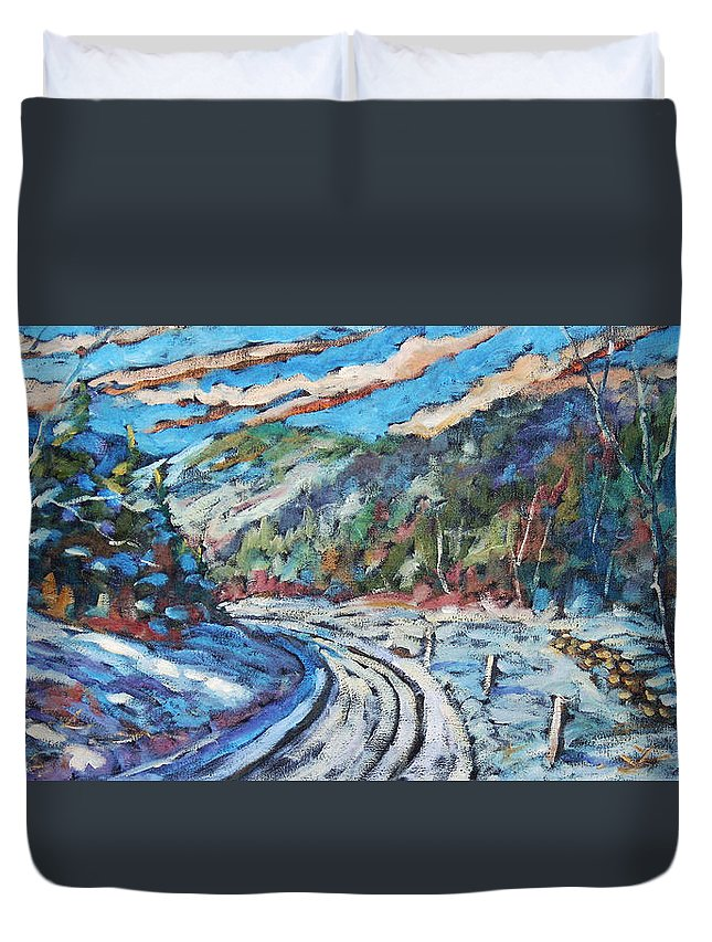 Loggers Duvet Cover featuring the painting Loggers Road by Richard T Pranke