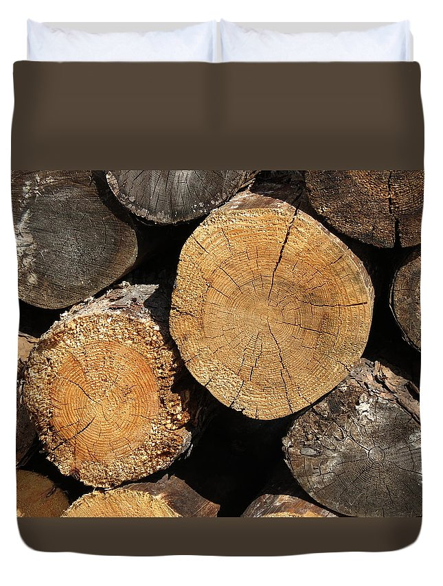 Log Duvet Cover featuring the photograph Logs by Creations by Shaunna Lynn