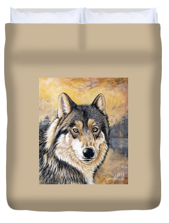 Acrylics Duvet Cover featuring the painting Loki by Sandi Baker
